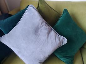 Velvet luxury cushions plus feather inner pads