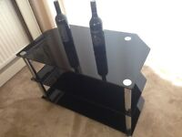 Three tier black glass TV television table stand