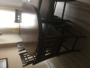 Pub Height Dining Room Table with 6 Chairs