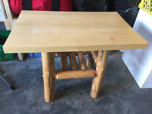 Estate sale; small wooden table with birch legs