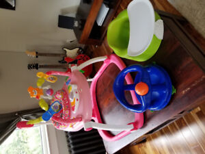 Baby toys:  exersaucer (space saver!), bumbo and bath seat.