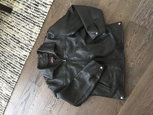Leather coat black size small