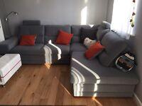 Grey corner sofabed