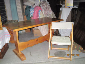 Pine table & 2 Chairs
