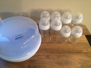 Avent glass bottles & sterilizer (unused)
