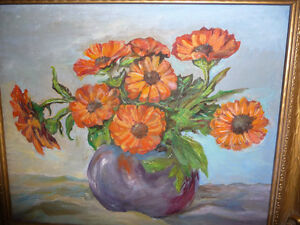 Vintage Still Life of Zinnias In A Blue Vase by M. Oliphant '47 Stratford Kitchener Area image 2