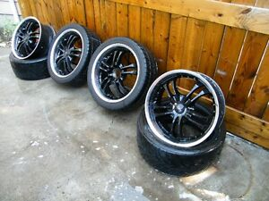 "Set of 4 black 18"" wheels and tires will fit bmw and many others"