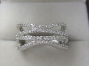 Ladies NVC 925 Sterling Silver Wavy Bling Ring size 9