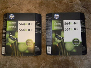 HP 564 XL double Black Ink Cartridges x 2, Factory Sealed