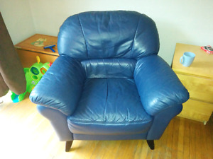 "TWO Blue ""leather"" chairs"