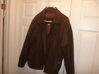 men's brown leather bomber jacket..