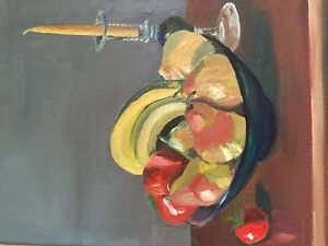 Still life : Candle and fruit