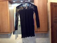 black lace top, long fitting size 14 ..