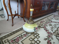Beautiful Antique Oil lamp before 1920's Electric Converted