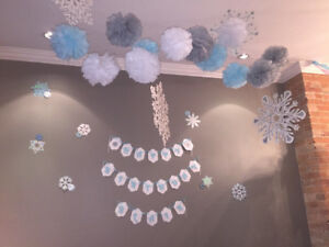 Frozen/ Winter Themes Birthday Banner Snowflakes
