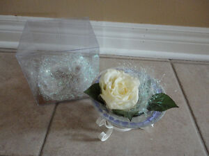 Brand new in box decorative cut glass container and metal stand London Ontario image 4