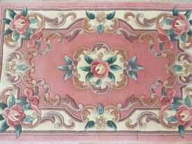 Traditional Chinese Rug Floral Pink/Cream 60cm x 90cm with fringe from GH Frith
