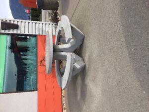 Solid concrete patio table