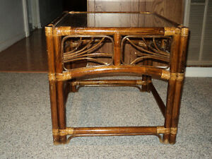 Vintage Rattan Bamboo Cane End table With Glass Top