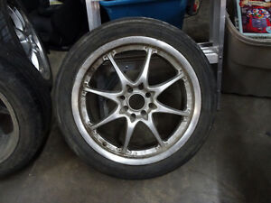 4 BOLT UNIVERSAL ALUMINUM RIMS WITH TIRES 205 r50 17 in