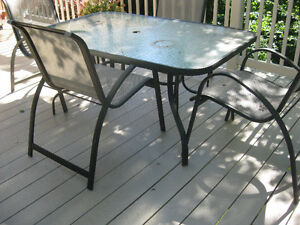Patio Table and Chair Set - Glass Top Table and 4 Chairs