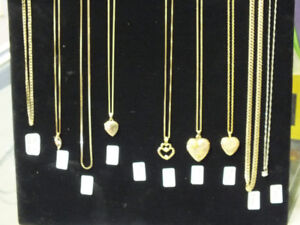 Assorted gold chains and pendants, just in time for Christmas