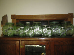 URANIUM VASELINE 1930's HOOSIER CABINET DEPRESSION GLASS JARS