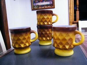 BROWN AND YELLOW FIRE KING COFFEE CUPS LOT 4