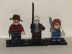 NEW!! All 3 FREDDY, JASON, CHUCKY Horror Movie Lego Men Figures