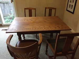 Oak Rectangular Table and Chairs