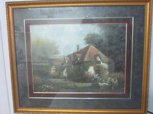 """New Price"" Excellent condition framed English Cottage scene"