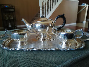 Silver Plated Tea Set/ 2 Cream and Sugar Sets/Bud vase