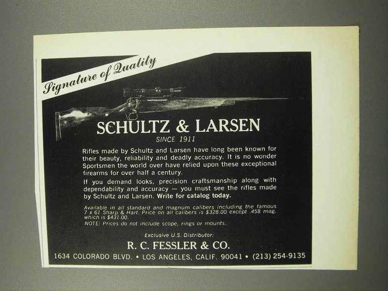 1968 Schultz & Larsen Rifle Ad - Signature of Quality