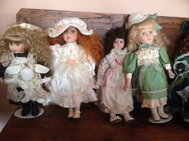 Porcelain dolls x 15