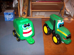 Ertl Johnny Tractor and Billy Baler with board books