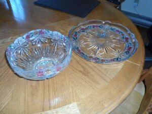 beautiful color patterned large serving platter & matching bowl