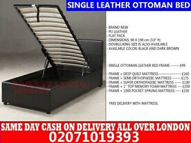 SINGLE STORAGE LEATHER BED,