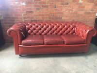 Terracota Chesterfield Leather 3 Seater Sofa - UK Delivery
