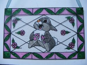 Thumper Bambie's Friend Stained Glass Painting Childrens Decor