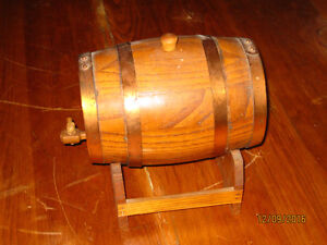 Antique Wooden Barrel with Stand