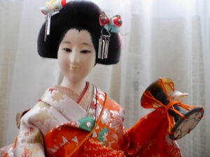 JAPANESE GEISHA DOLL - HANDMADE - PURCHASED IN  KYOTO