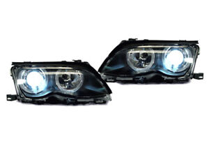 DEPO Angel Eye Halo Projector P46 Headlight + Xenon HID For 02-05 BMW E46 4D/5D