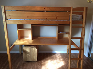 loft bed with desk- wooden
