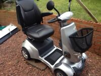 Venu 2 mobility scooter, silver with black leather captains seat, indicators lights