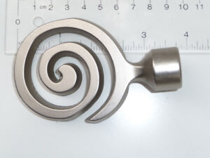 9 Spiral Curtain Rod / Tie-Back Finials ... Brushed Nickel