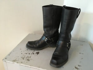 Black Canada West Bikers harness style motorcycle boots
