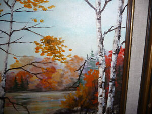 """Charming Roy Robson """"By The Birches"""" Original Oil Painting 1989 Stratford Kitchener Area image 6"""