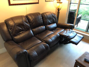 Brown leatherette recliner