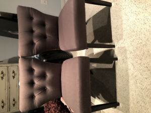Set of 2 - Grey Tuffeted Chairs