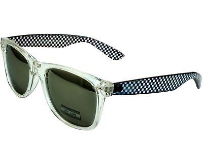 Crystal Classic Sunglasses Clear Checker Frame Gray Mirror Lens Checker Crystal